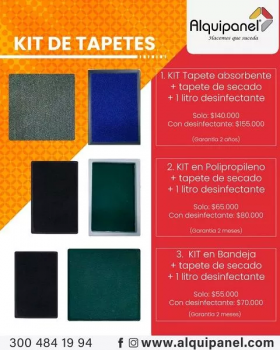 KIT en Bandeja  Polipropileno  + Tapete de secado + 1 litro Desinfectante en  Agrofertas®